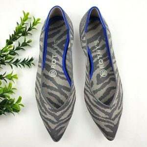 ROTHY'S The Point Flats in Grey Zebra  S12